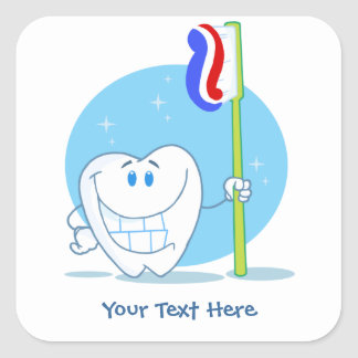 Smiley Tooth (customizable) Square Sticker