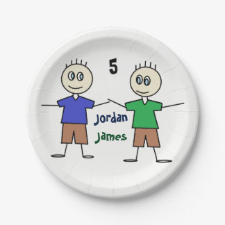 Smiley Twin Boys Stick Figure Fun Birthday Paper Plate