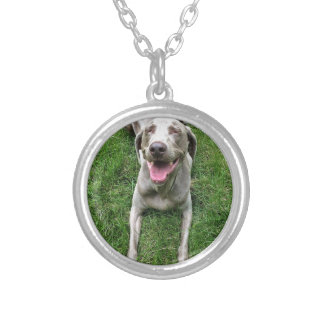 Smiley Weimaraner Silver Plated Necklace
