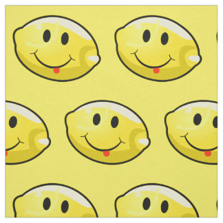 Smiley Yellow Lemon Custom Fabric