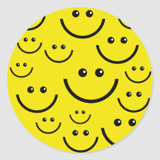 Smilie Face Background Classic Round Sticker