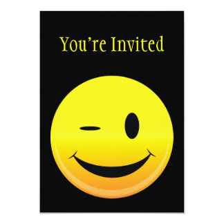 "Smilie Face Wink 5"" X 7"" Invitation Card"