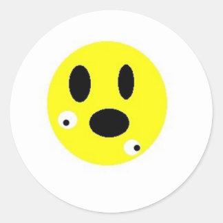 Smilie No Eyes Round Sticker