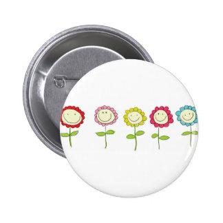 Smilin' Flowers 2 Inch Round Button