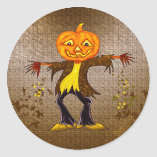 Smiling and dancing Halloween Scarecrow Round Sticker