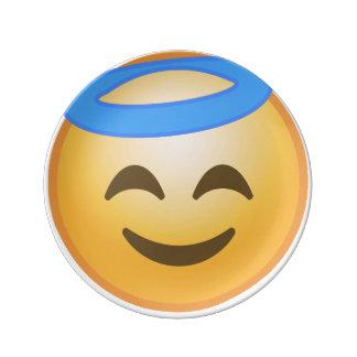 Smiling Angel Emoji Porcelain Plates