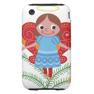 Smiling angel with halo and butterfly wings, iPhone 3 tough cases