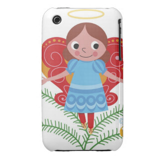 Smiling angel with halo and butterfly wings, iPhone 3 cover