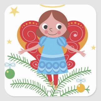 Smiling angel with halo and butterfly wings, square sticker