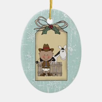Smiling Baby Boy Cowboy Pony 2-Sided Gift Tag Ceramic Ornament