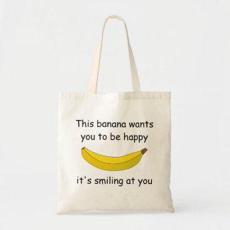 Smiling banana tote canvas bags