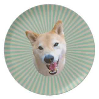 Smiling Barkley Melamine Plate