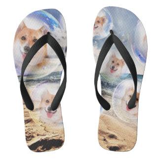 Smiling Beach Corgis Flip Flops