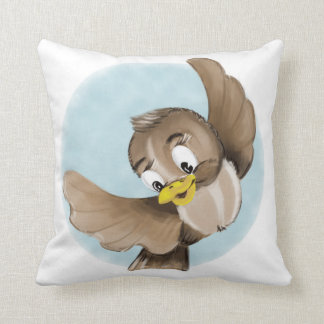 Smiling Bird Throw Pillow
