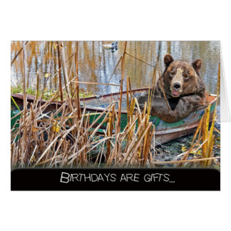 smiling birthday bear in row boat card
