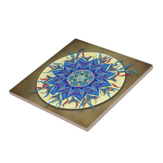 Smiling Blue Moon Mandala Ceramic Tile