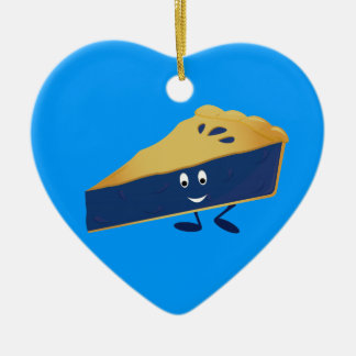 Smiling blueberry pie slice ceramic heart ornament