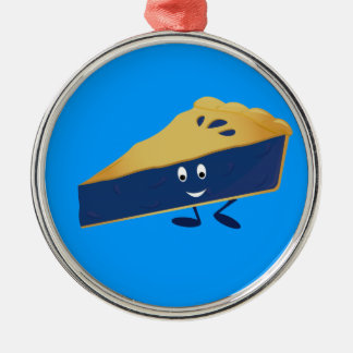 Smiling blueberry pie slice Silver-Colored round ornament