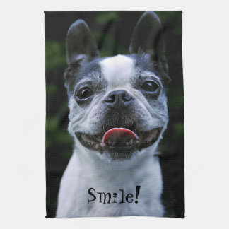 Smiling Boston Terrier Kitchen Towel