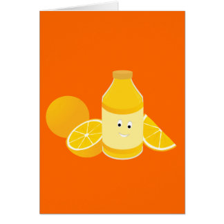Smiling bottle of orange juice with oranges card