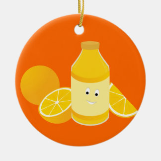 Smiling bottle of orange juice with oranges ceramic ornament