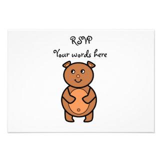Smiling brown bear invites