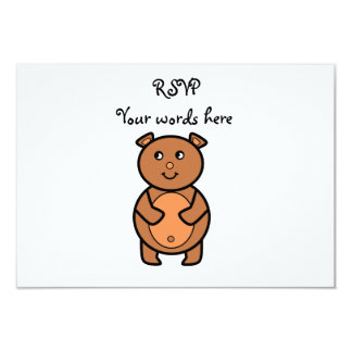 "Smiling brown bear 3.5"" x 5"" invitation card"