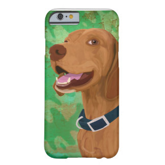 Smiling Brown Vizsla on Green Background Barely There iPhone 6 Case