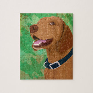 Smiling Brown Vizsla on Green Background Puzzle