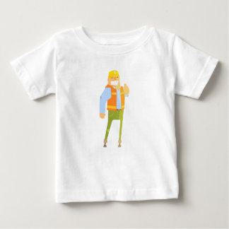 Smiling Builder Showing Thumbs Up On Construction Baby T-Shirt