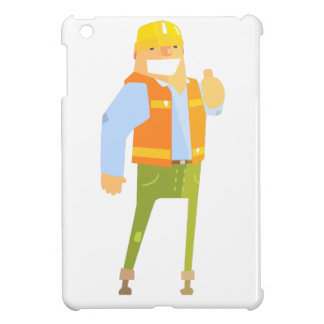 Smiling Builder Showing Thumbs Up On Construction Cover For The iPad Mini