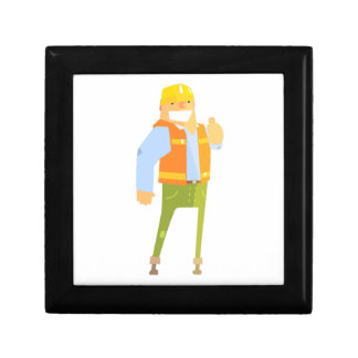 Smiling Builder Showing Thumbs Up On Construction Gift Box