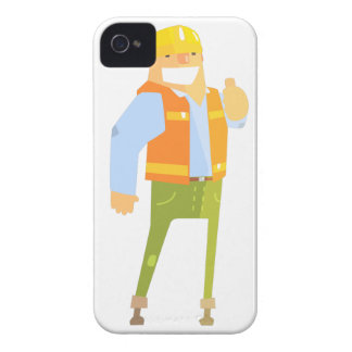 Smiling Builder Showing Thumbs Up On Construction iPhone 4 Case-Mate Case