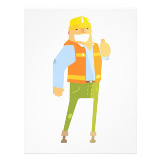 Smiling Builder Showing Thumbs Up On Construction Letterhead