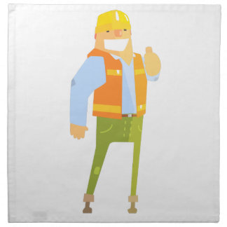 Smiling Builder Showing Thumbs Up On Construction Napkin