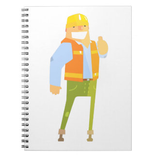 Smiling Builder Showing Thumbs Up On Construction Notebook