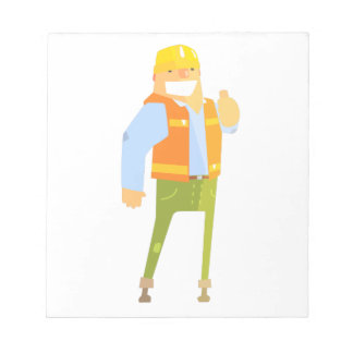 Smiling Builder Showing Thumbs Up On Construction Notepad