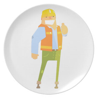 Smiling Builder Showing Thumbs Up On Construction Plate