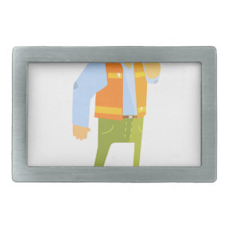 Smiling Builder Showing Thumbs Up On Construction Rectangular Belt Buckles