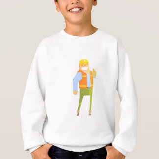 Smiling Builder Showing Thumbs Up On Construction Sweatshirt
