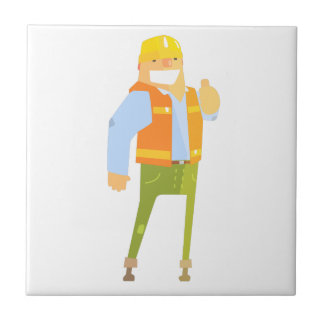 Smiling Builder Showing Thumbs Up On Construction Tile