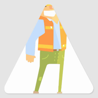 Smiling Builder Showing Thumbs Up On Construction Triangle Sticker
