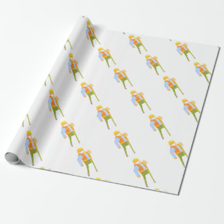 Smiling Builder Showing Thumbs Up On Construction Wrapping Paper