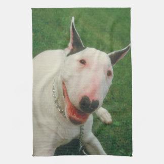 Smiling Bull Terrier Dog Kitchen Towel