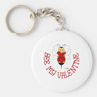 Smiling Bumble Bee Hugs Heart Bee My Valentine Keychain