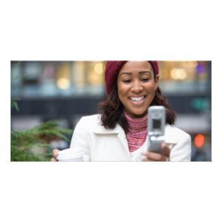 Smiling Business Woman with Cell Phone Personalized Photo Card