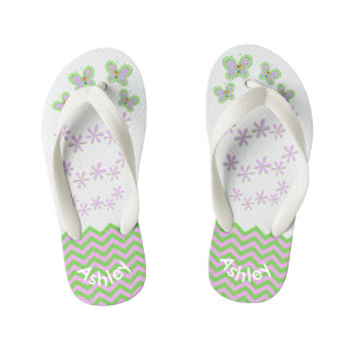 Smiling Butterfly Garden Zigzags Custom Kid's Flip Flops