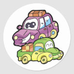 Smiling Car and Truck Round Stickers