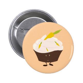 Smiling carrot cake cupcake button