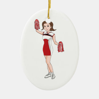 Smiling  Cartoon Brunette Cheerleader w/ Pom Poms Ceramic Ornament